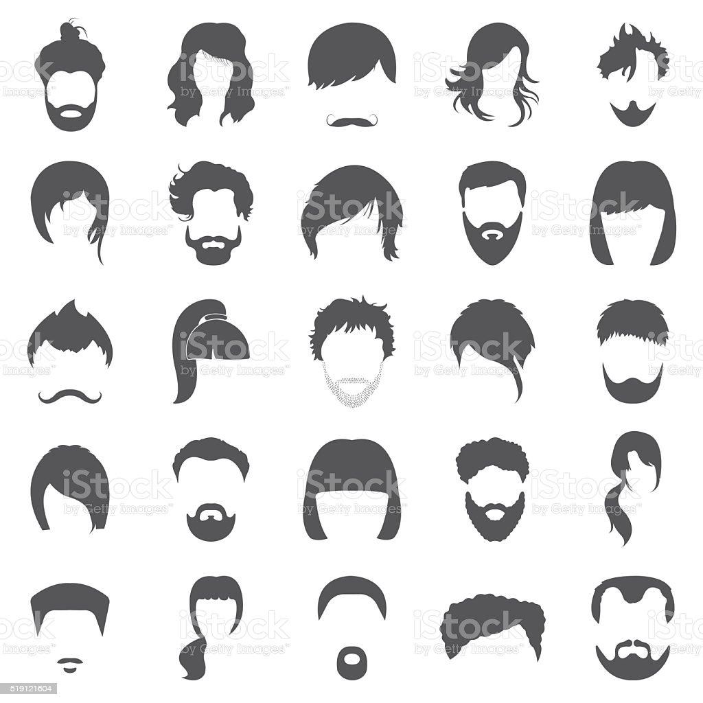 Hair 25 black simple icons set for web vector art illustration