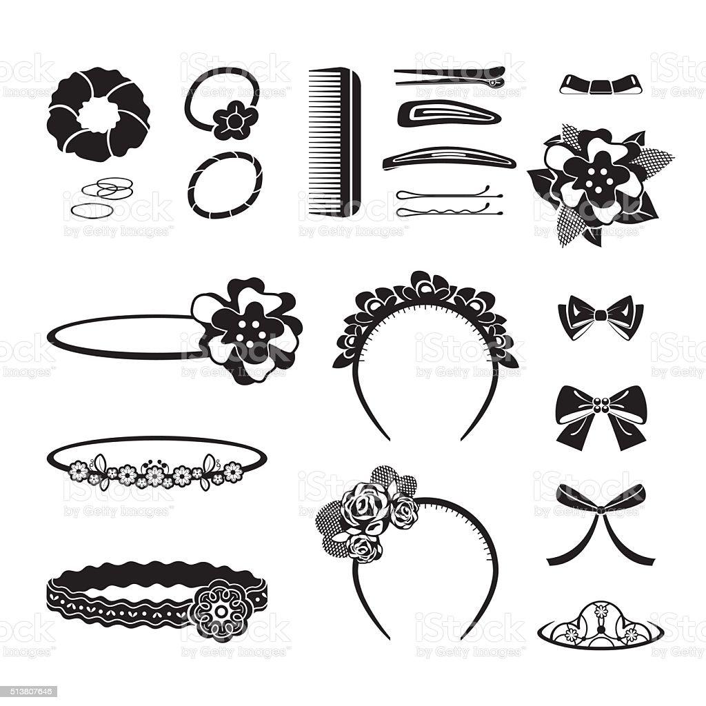 Hair Accessories Set, Monochrome vector art illustration