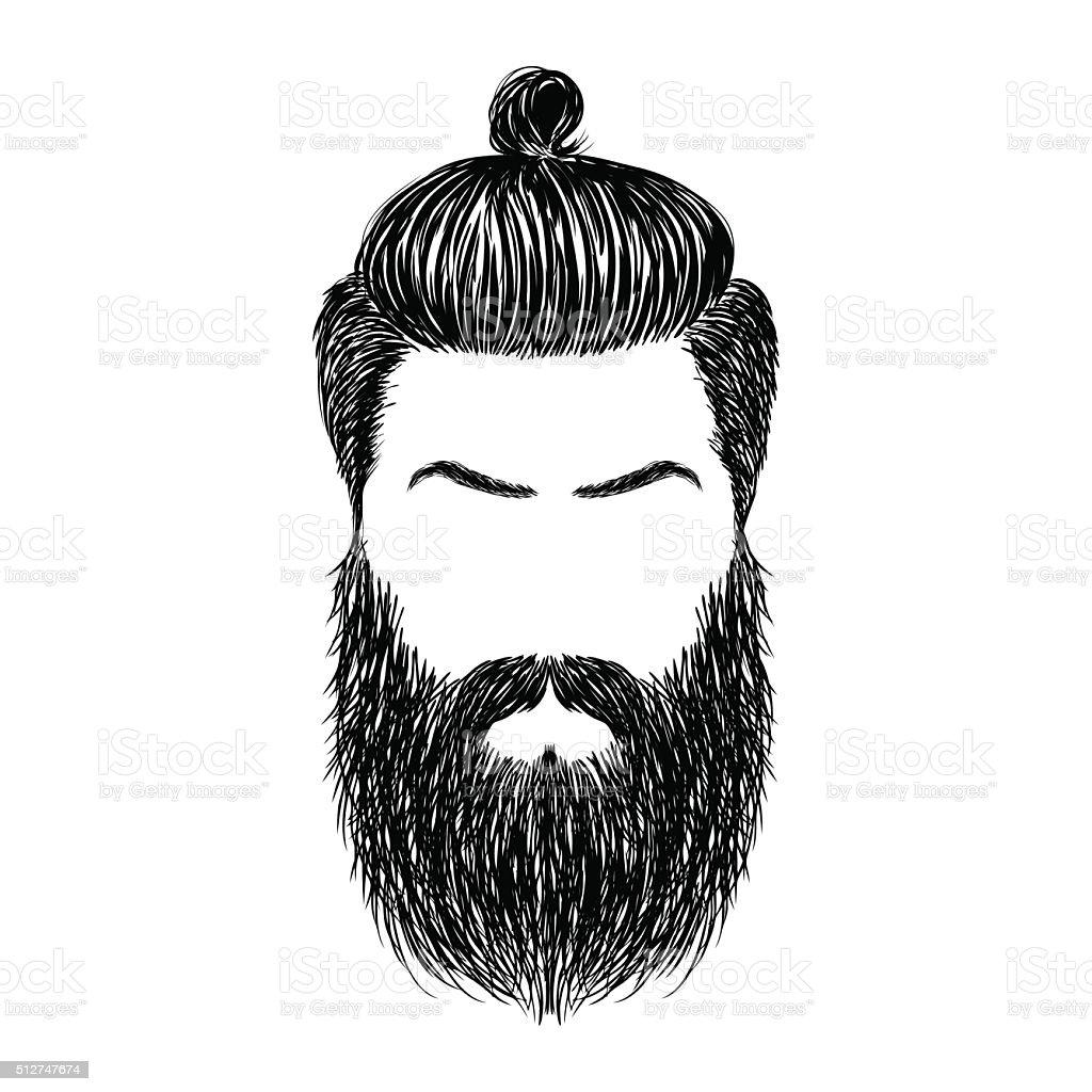 hair and beards vector art illustration