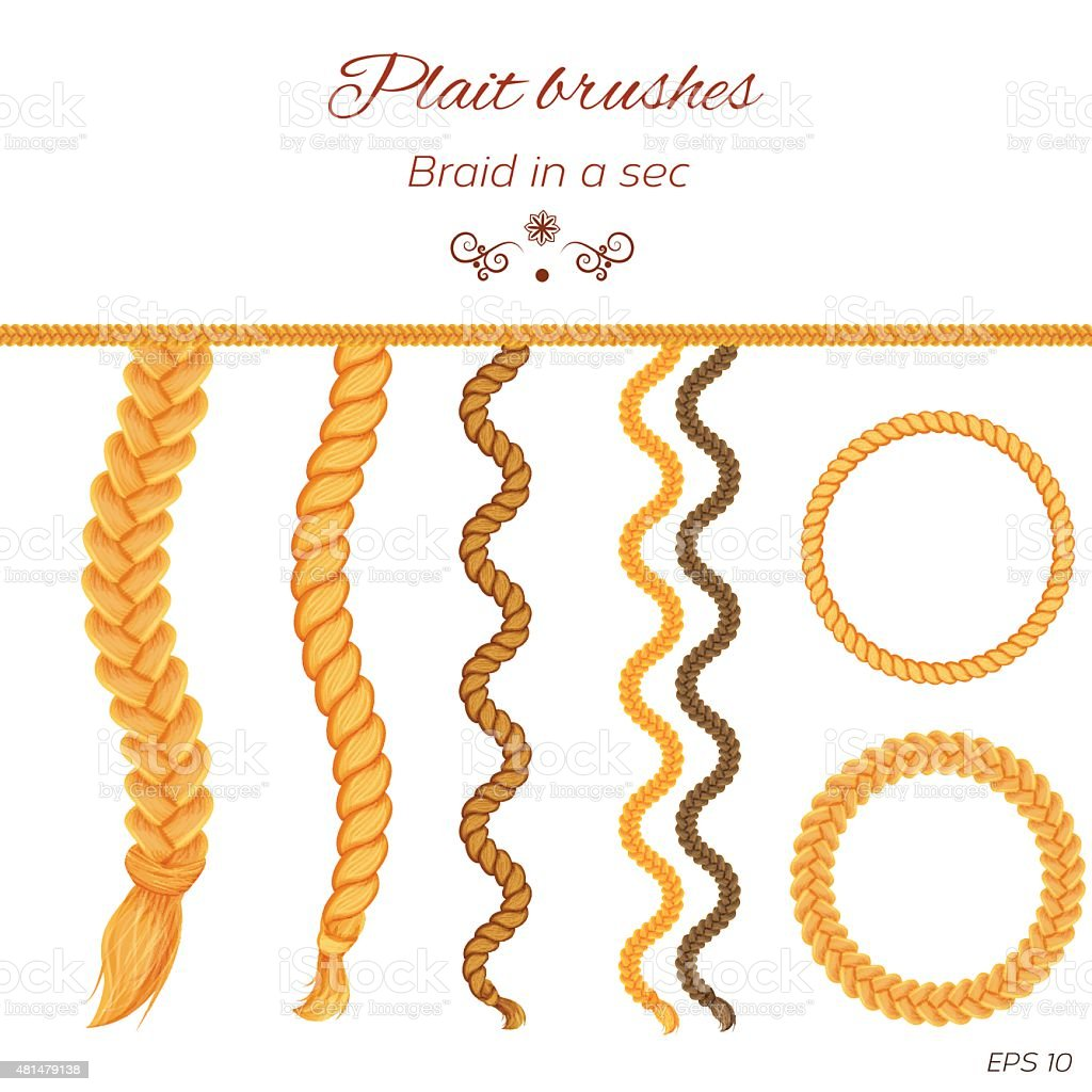 Hair braided isolated on white. Seamless braids vector art illustration