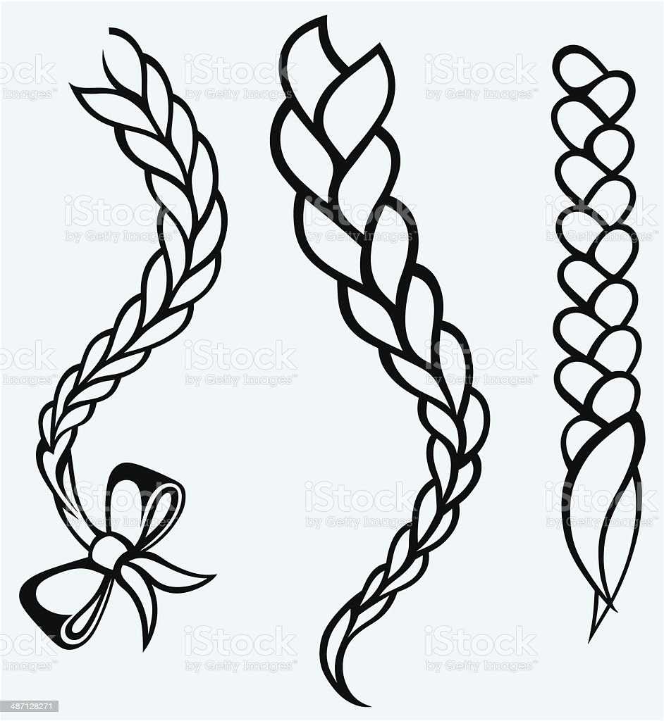 Hair braided vector art illustration