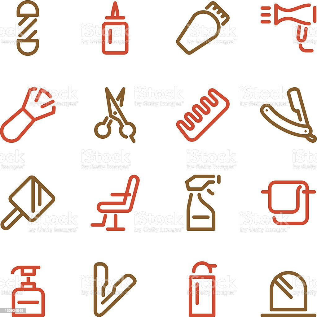 Hair Care Barber Icons - Line Color Series vector art illustration