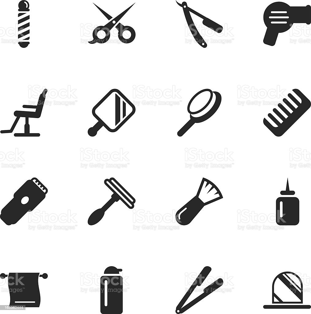 Hair Care Barber Silhouette Icons vector art illustration