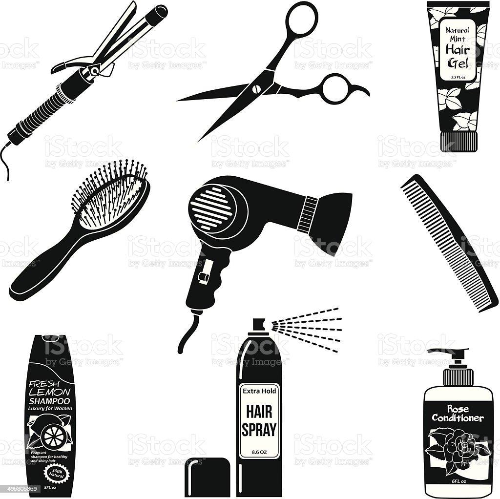 hair care icons vector art illustration