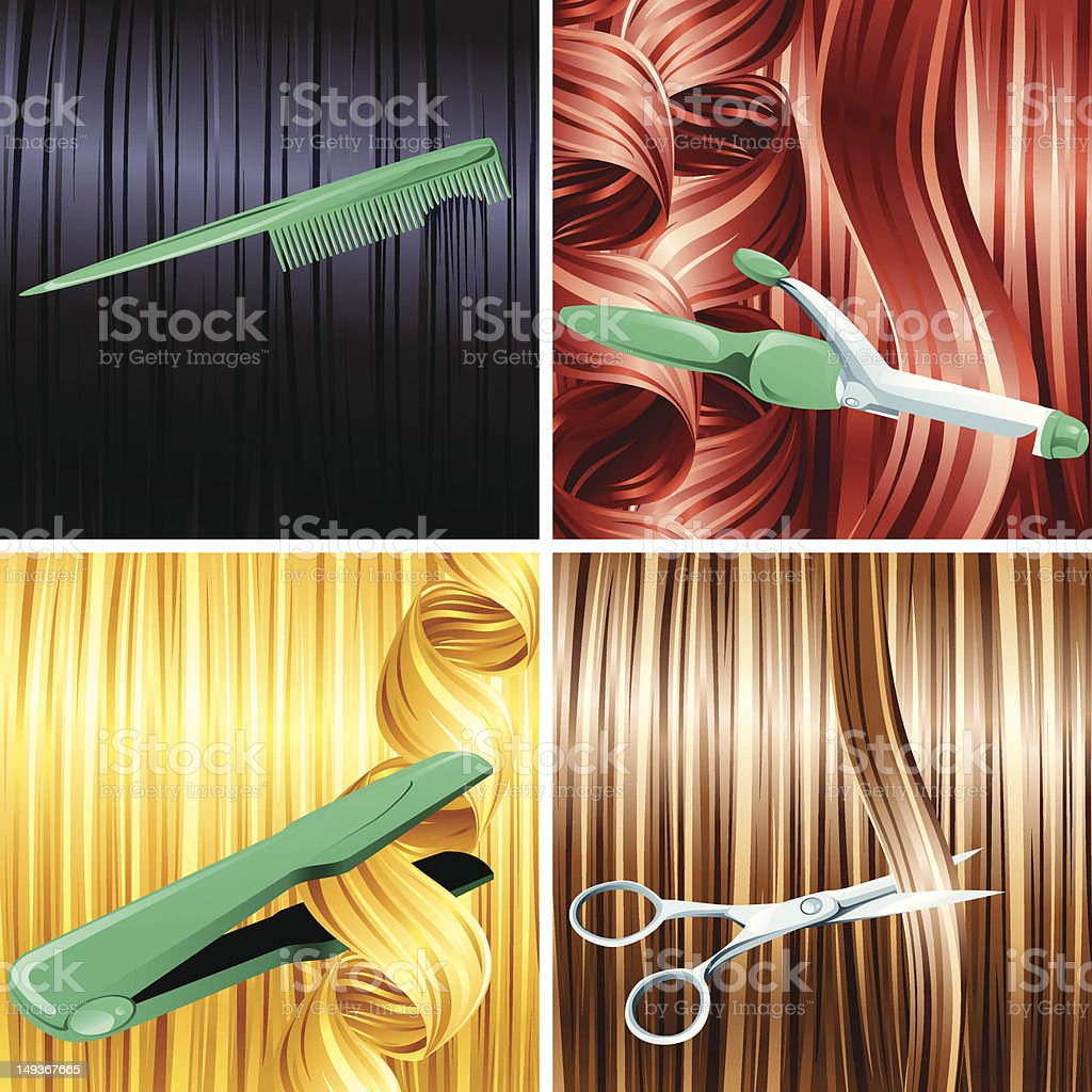 Hair care panels royalty-free stock vector art