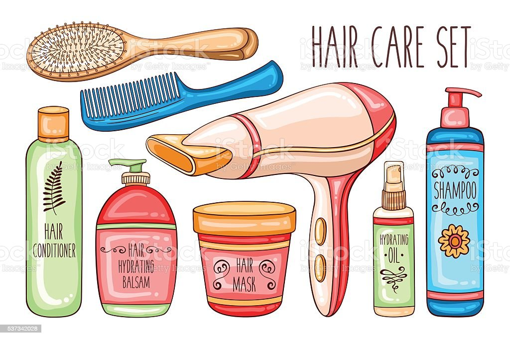 Hair care set with cosmetics, hairdryer, brushes and combs vector art illustration