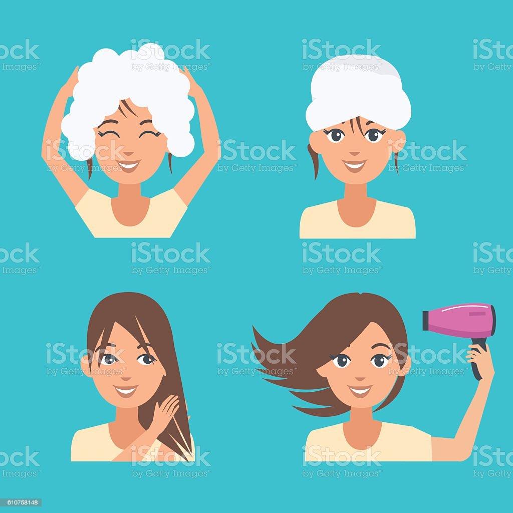 hair care vector art illustration