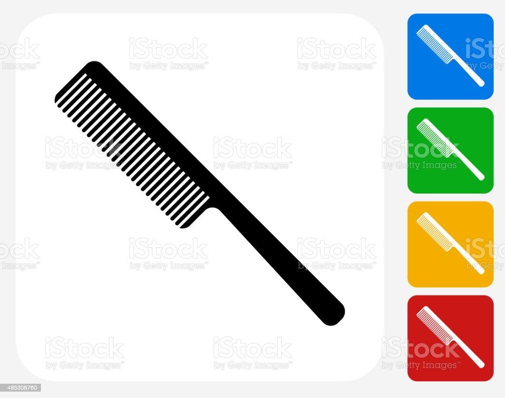 Hair Comb Icon Flat Graphic Design vector art illustration
