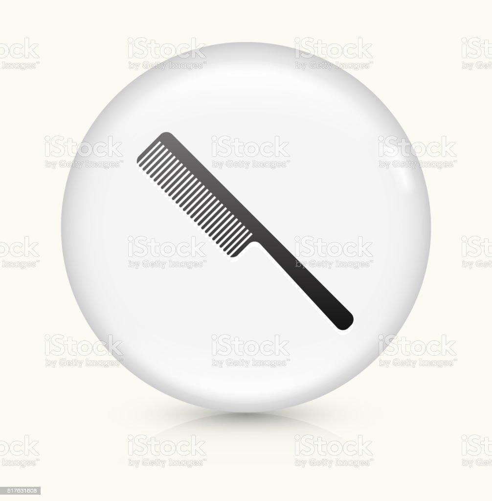 Hair Comb icon on white round vector button vector art illustration