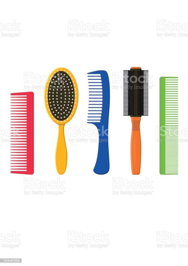 Hair combs and hairbrushes set. Fashion equipment hairdresser. Care themselves vector art illustration