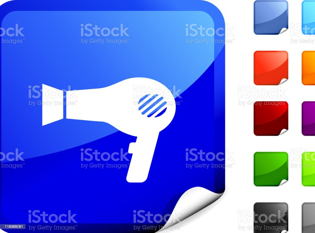 hair dryer icon on sticker royalty-free stock vector art
