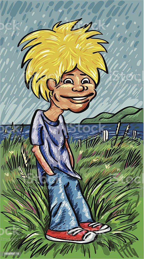 Hair Guy at the Beach vector art illustration