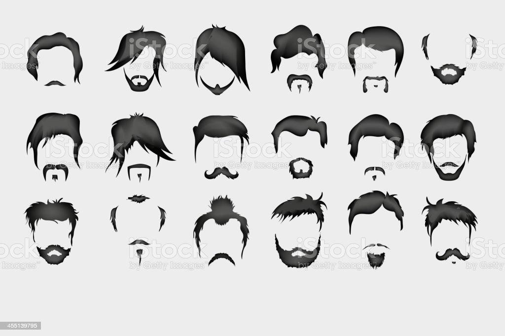 hair, mustache, beard vector art illustration
