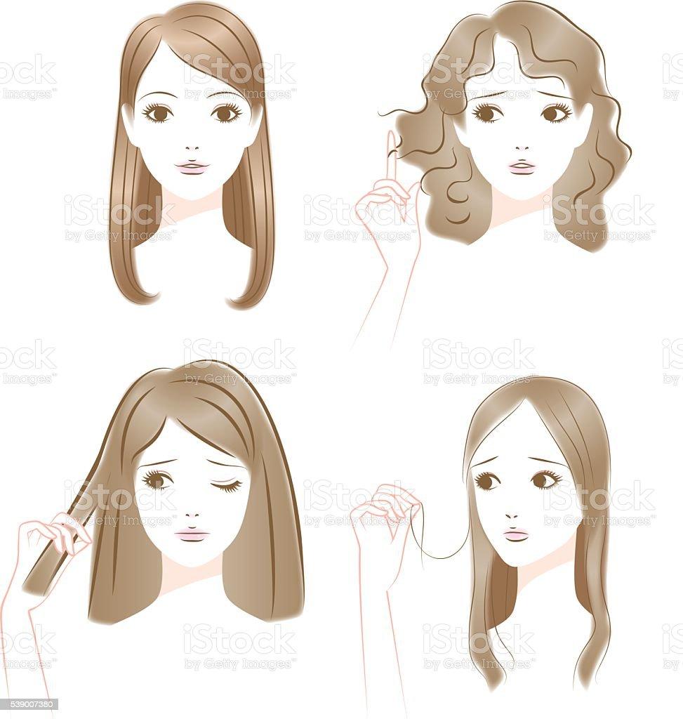 Hair of trouble. Curly hair. It bristles. Thin hair. vector art illustration