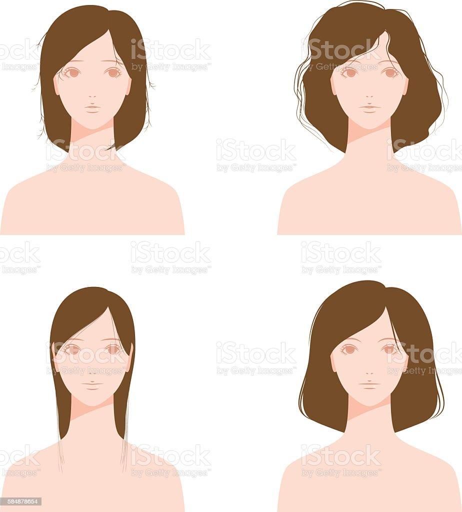 Hair of trouble. Many hair. Thin hair. Split ends. vector art illustration