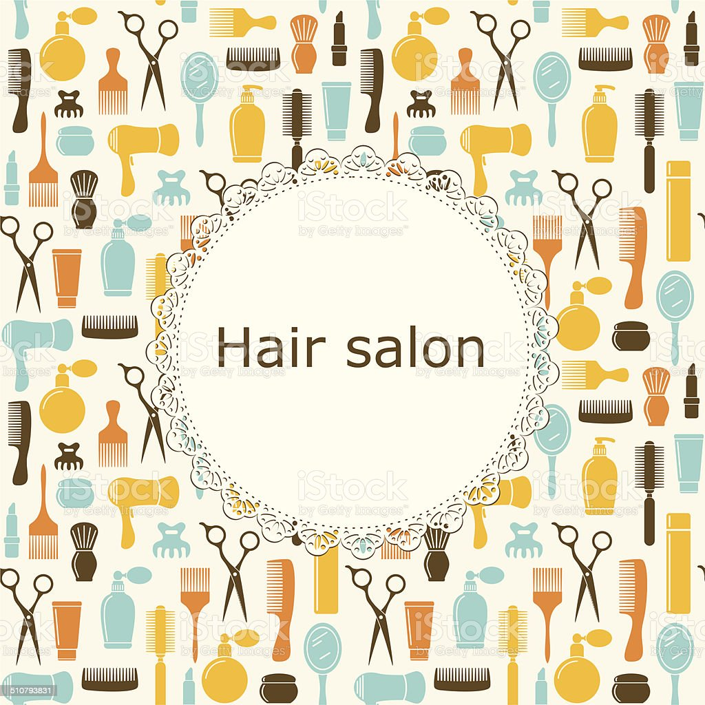 Hair salon background with place for text vector art illustration