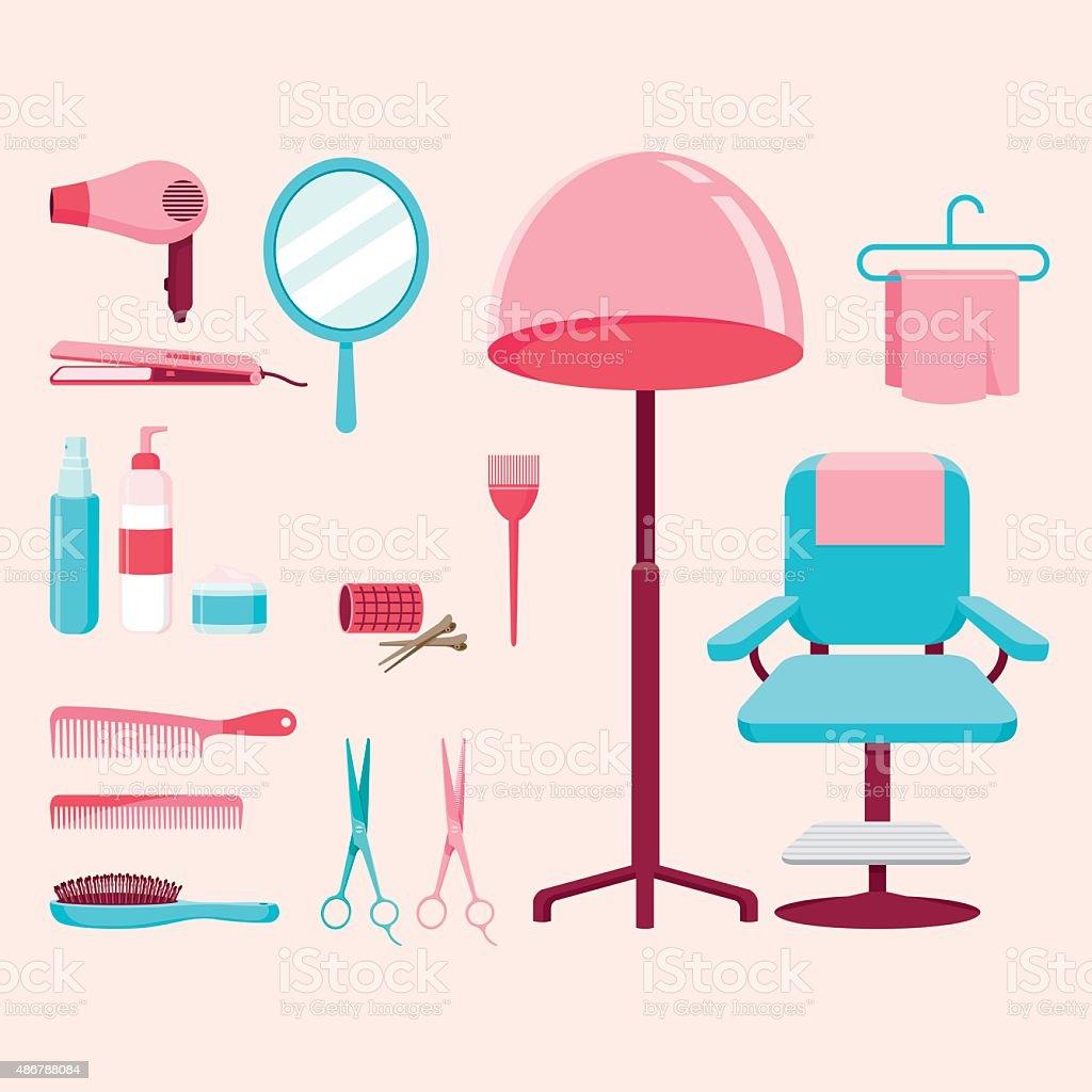 Hair salon equipments set vector art illustration