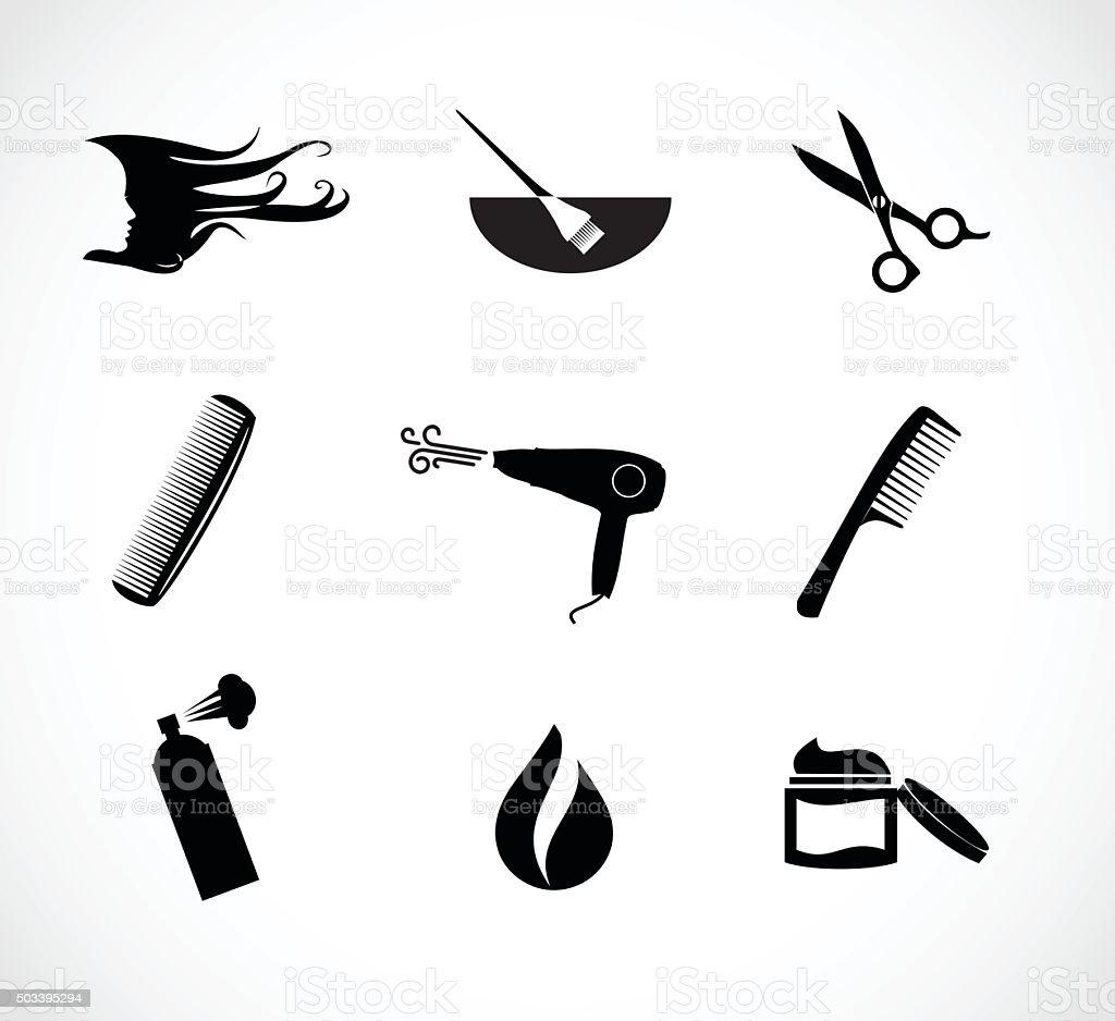 Hair salon icon set vector illustration vector art illustration