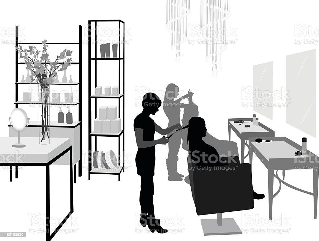 Hair Salon Silhouettes vector art illustration