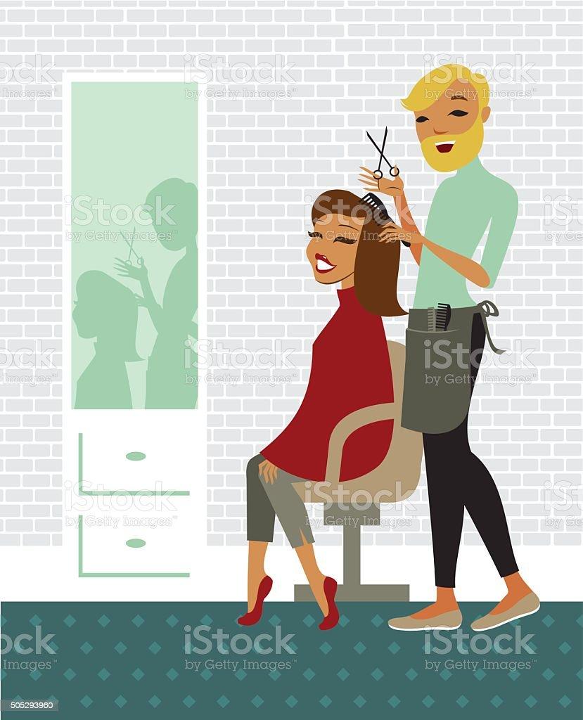 Hair salon vector art illustration