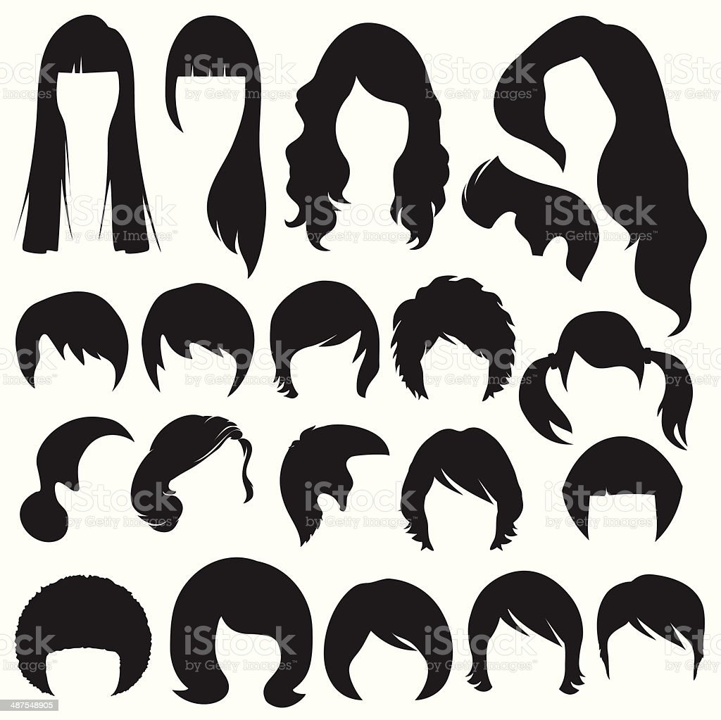 hair silhouettes,  hairstyle vector art illustration
