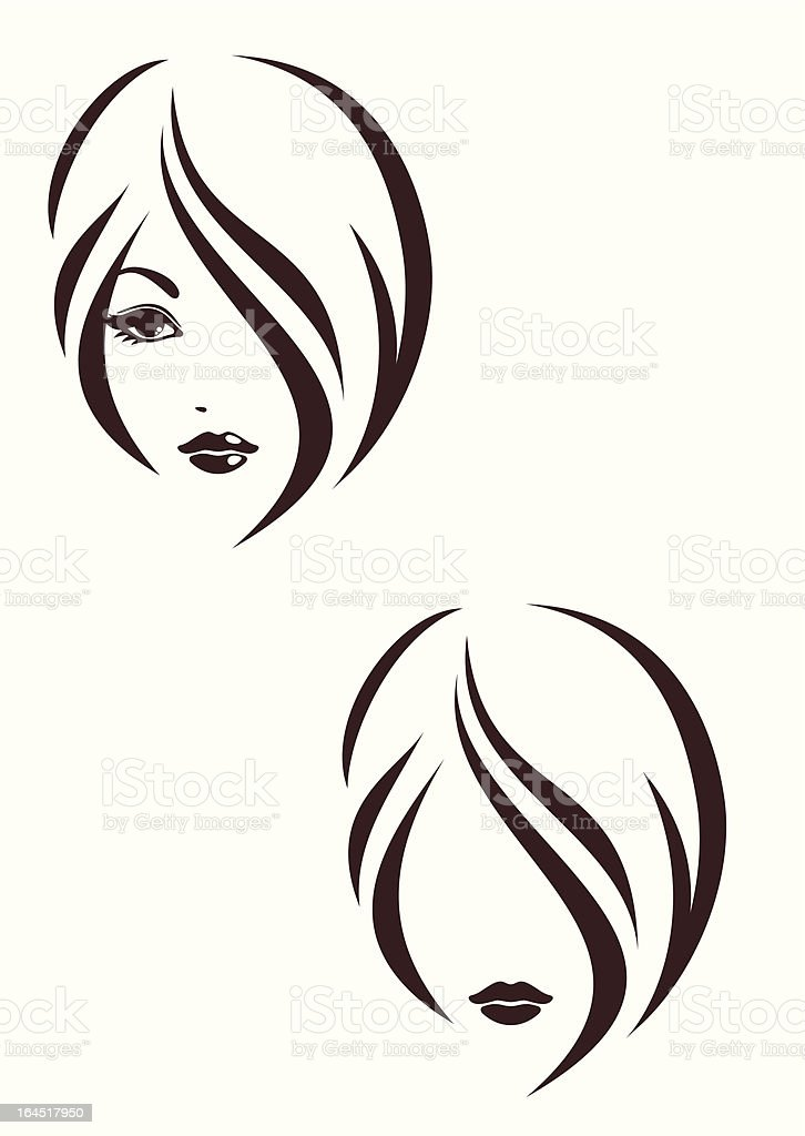 Hair stile icon, the girl's face vector art illustration