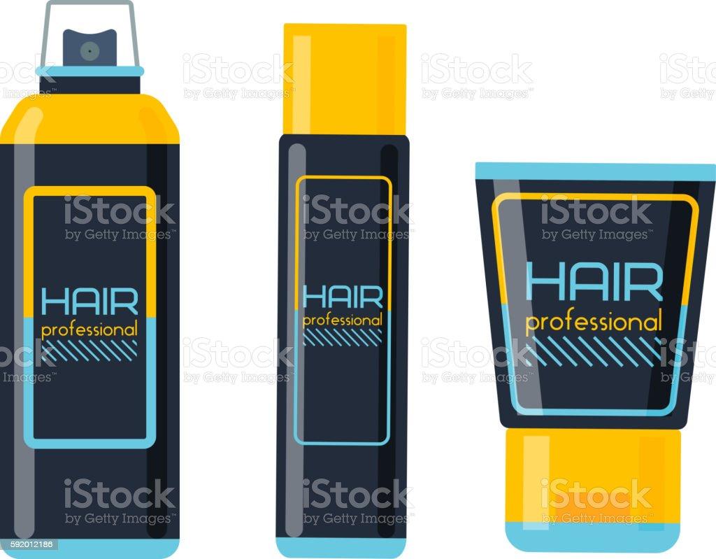 Hair style bottle vector. vector art illustration