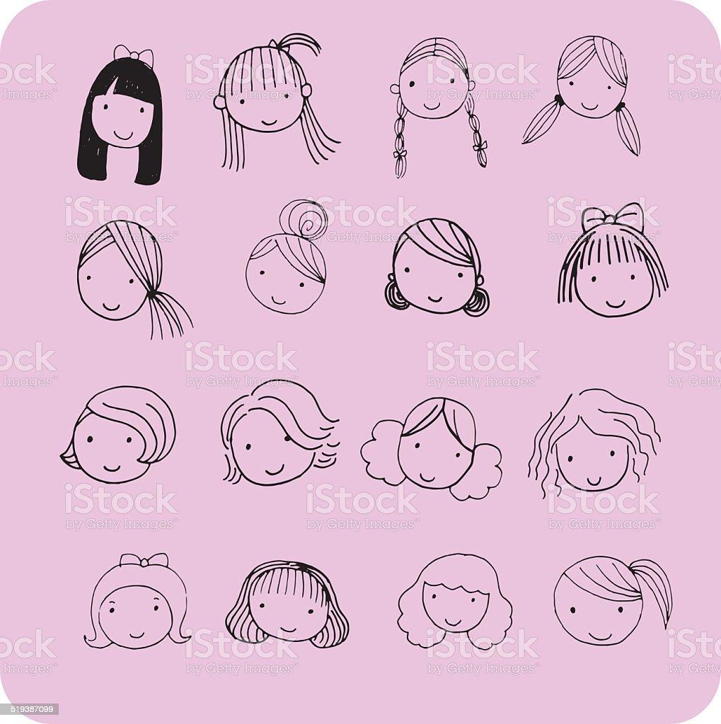 Hair style for cartoon face vector art illustration