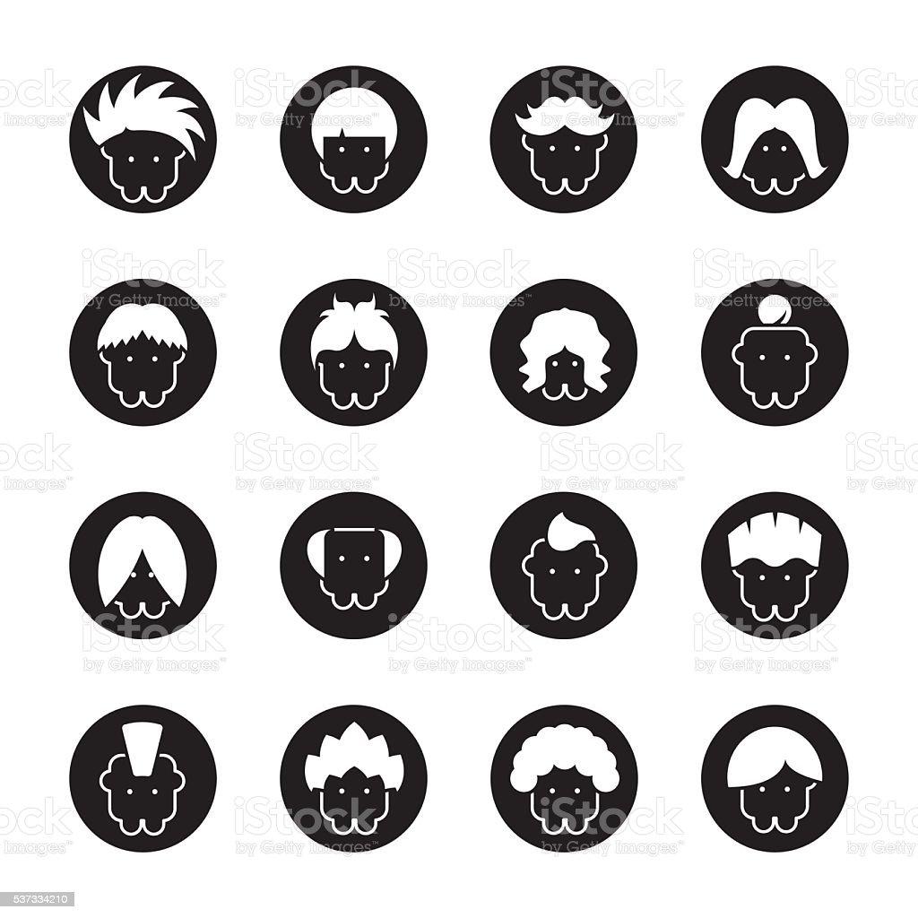 Hair Style Icons - Black Circle Series vector art illustration
