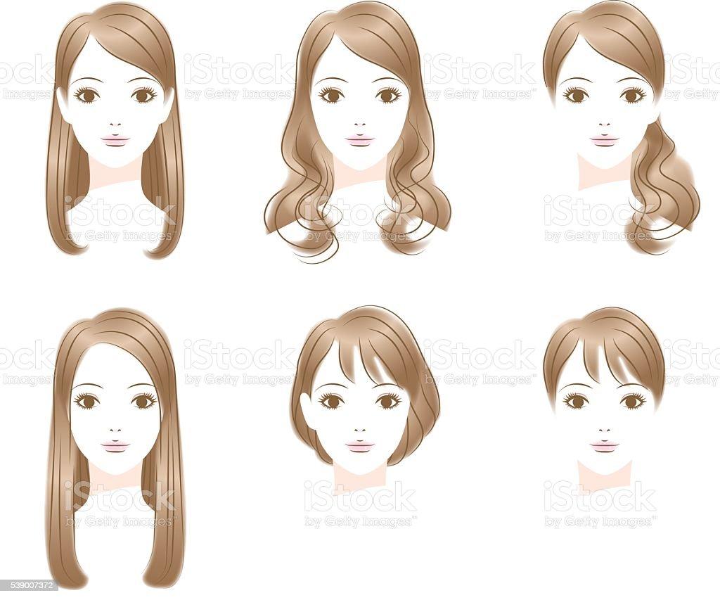 Hair style. Long Hair.  short hair vector art illustration