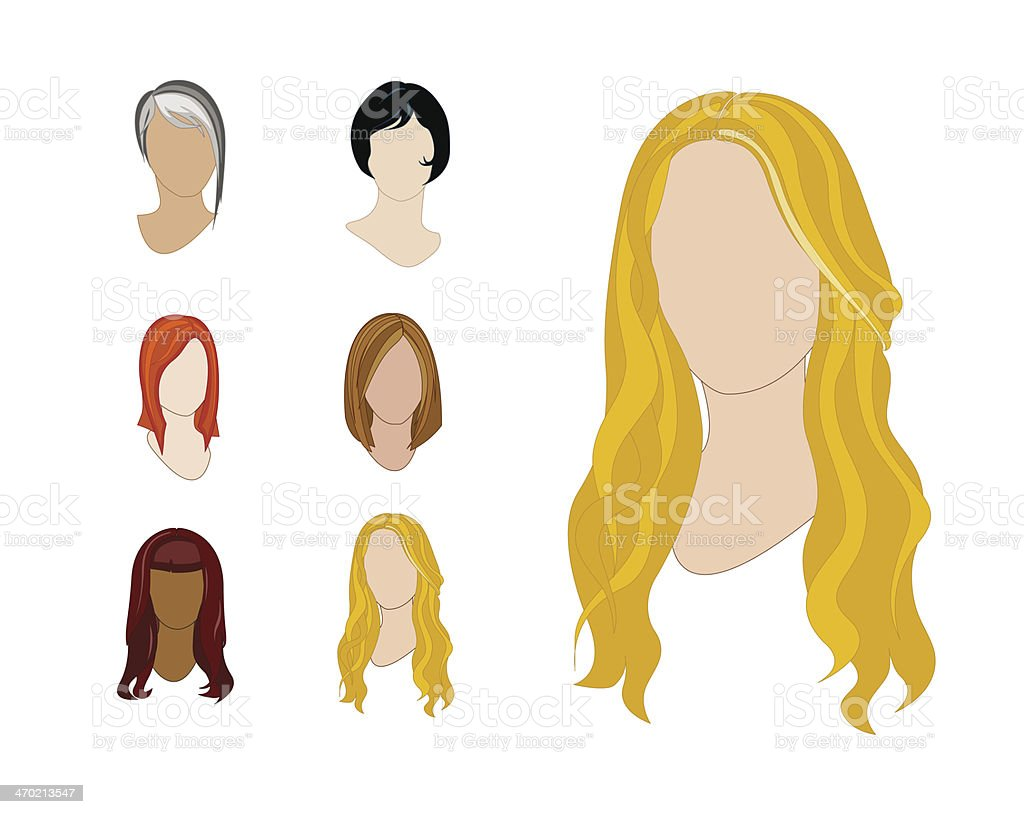 Hair Styles Set vector art illustration