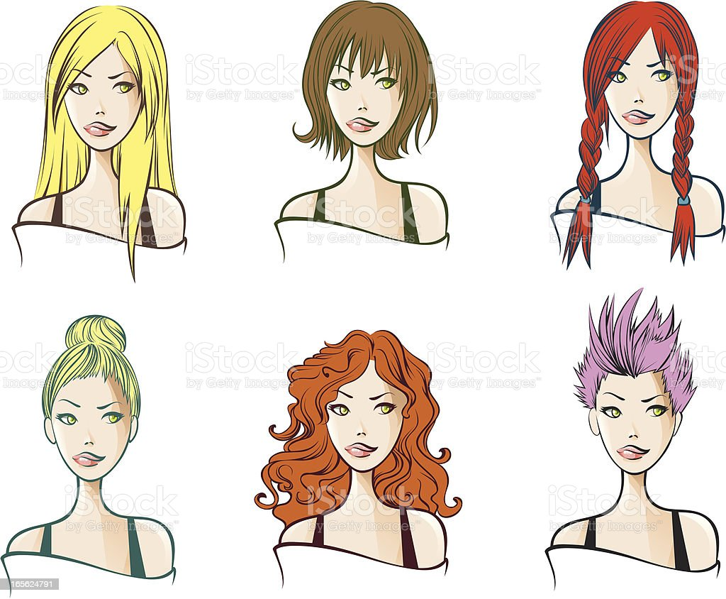 Hair styles royalty-free stock vector art