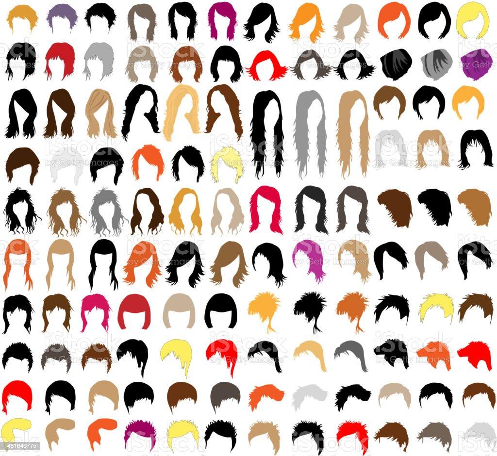 hair styles vector art illustration