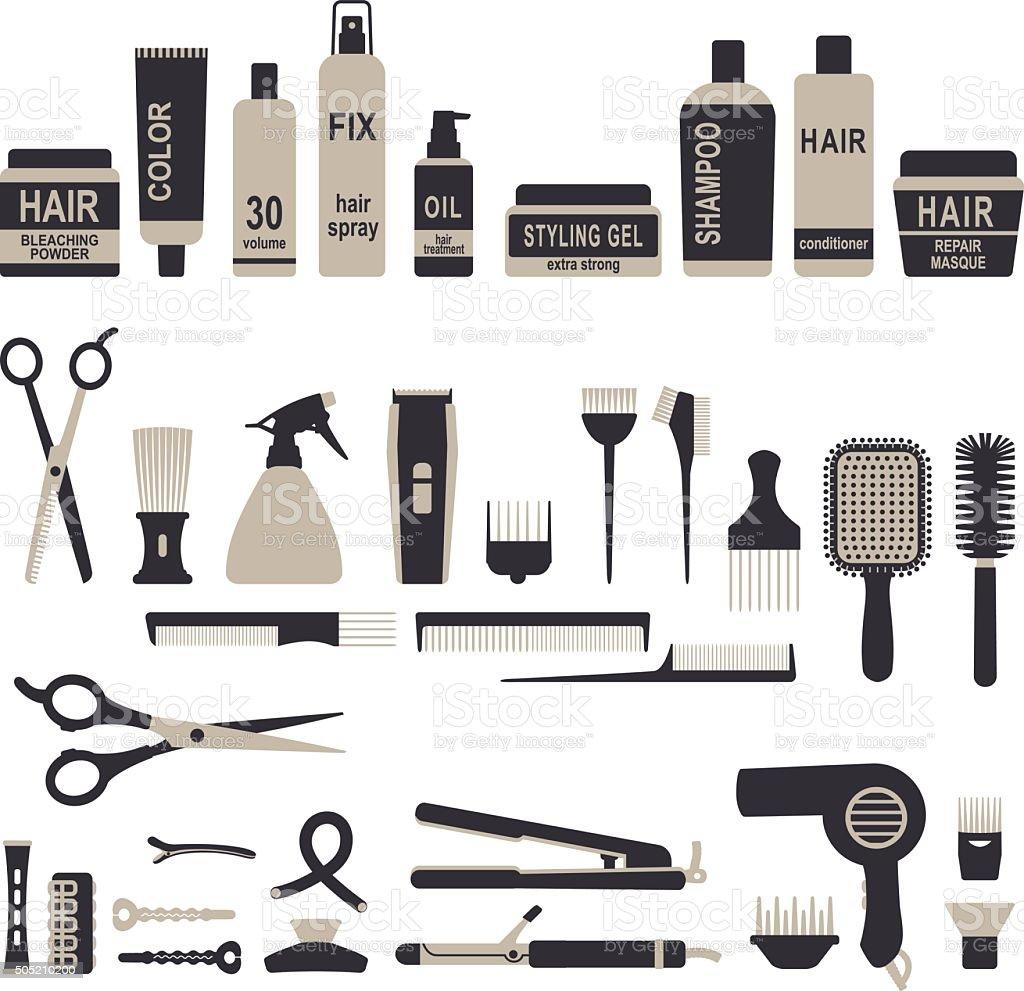 Hair styling icons set 1 vector art illustration