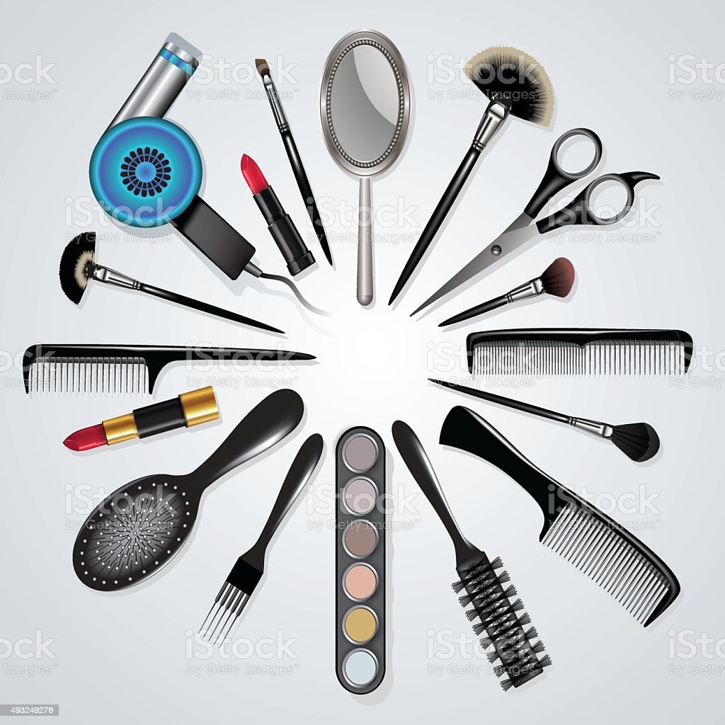 Hair stylist and makeup tools vector art illustration