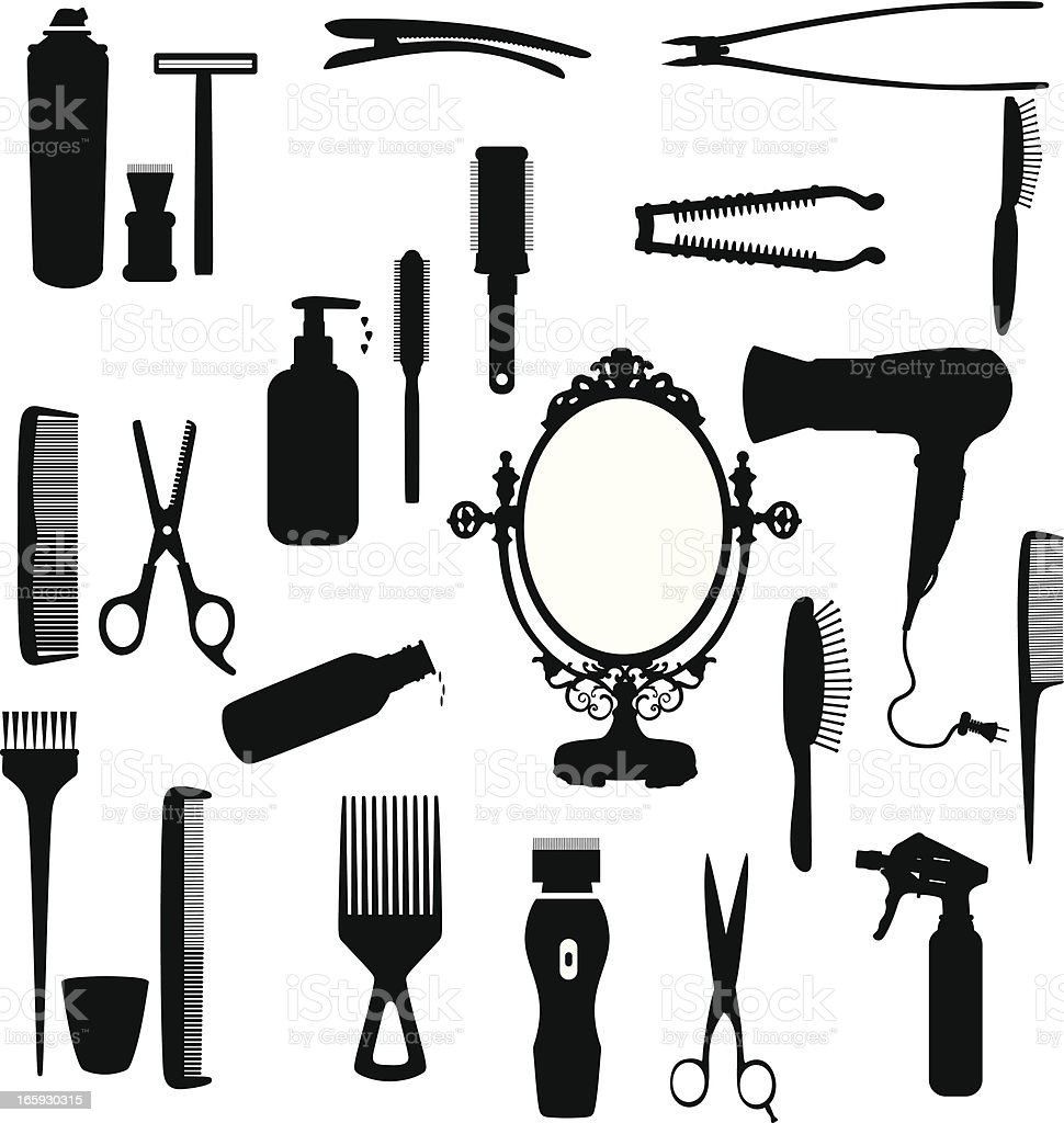 Hair tools silhouette royalty-free stock vector art