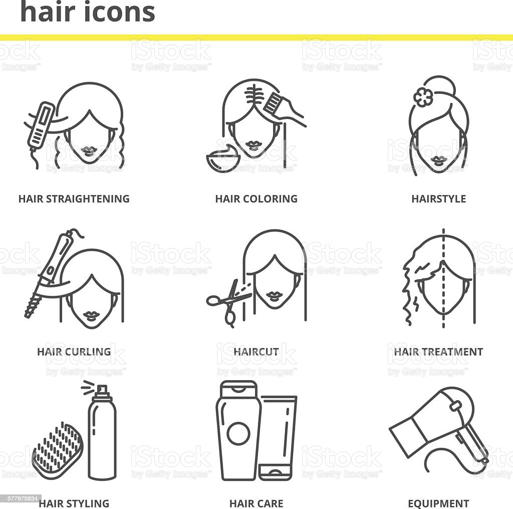 Hair vector icons set: straightening, coloring, hairstyle, curli vector art illustration