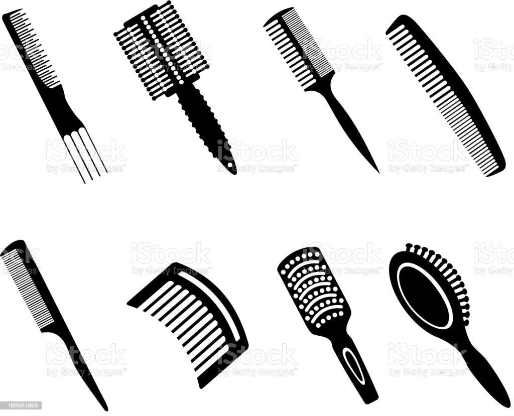 Hairbrushes Silhouette Icons vector art illustration