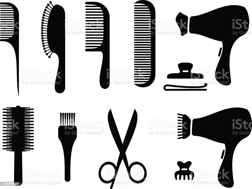 Hairdresser black icons vector. Hairdressers professional tools. vector art illustration