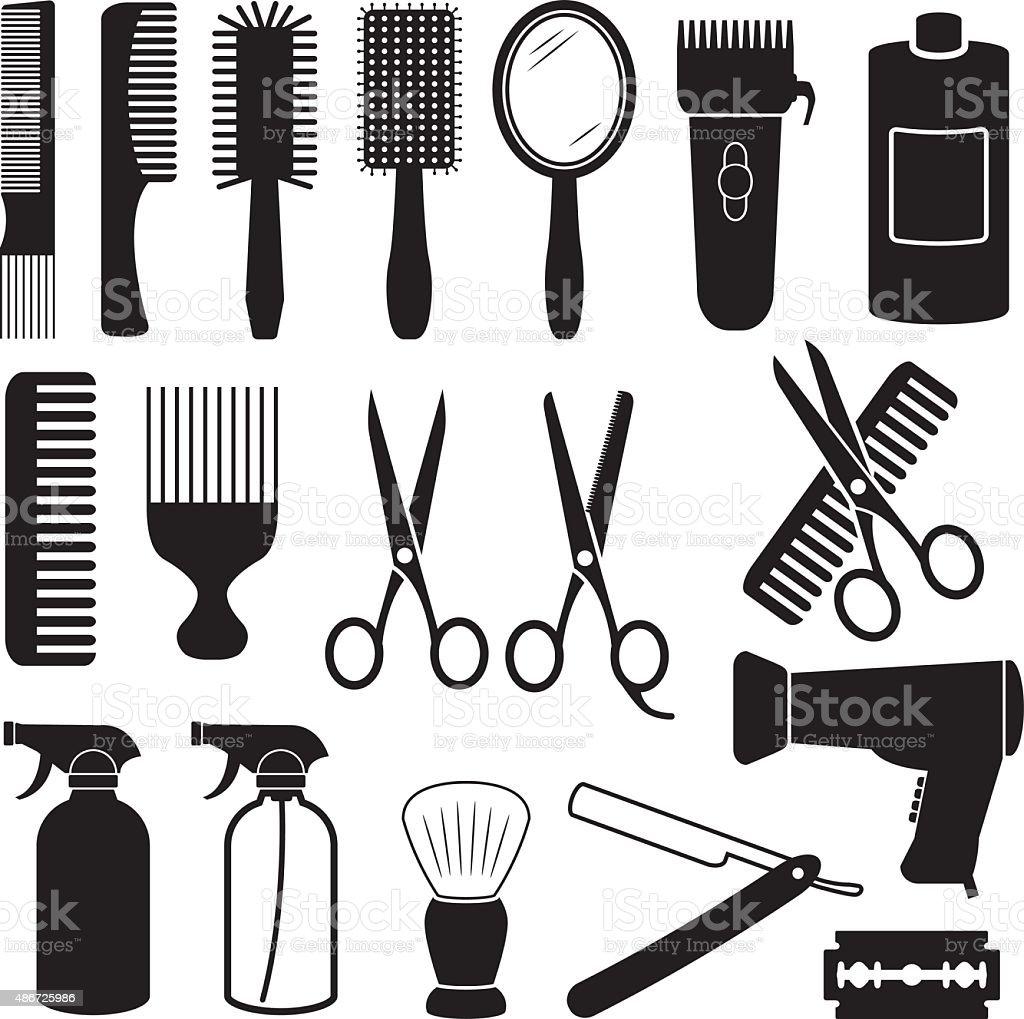 Hairdresser Icons vector art illustration