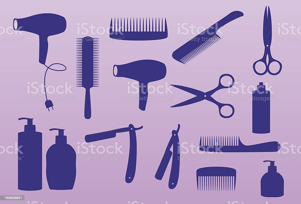 hairdresser pattern and icons royalty-free stock vector art