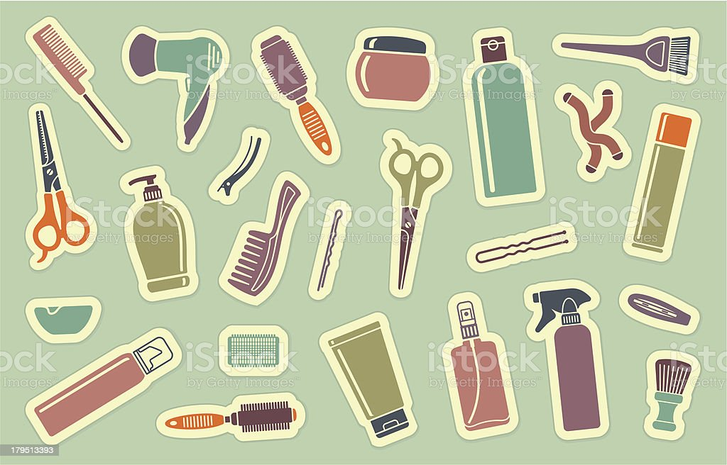 Hairdresser's accessories on stickers royalty-free stock vector art