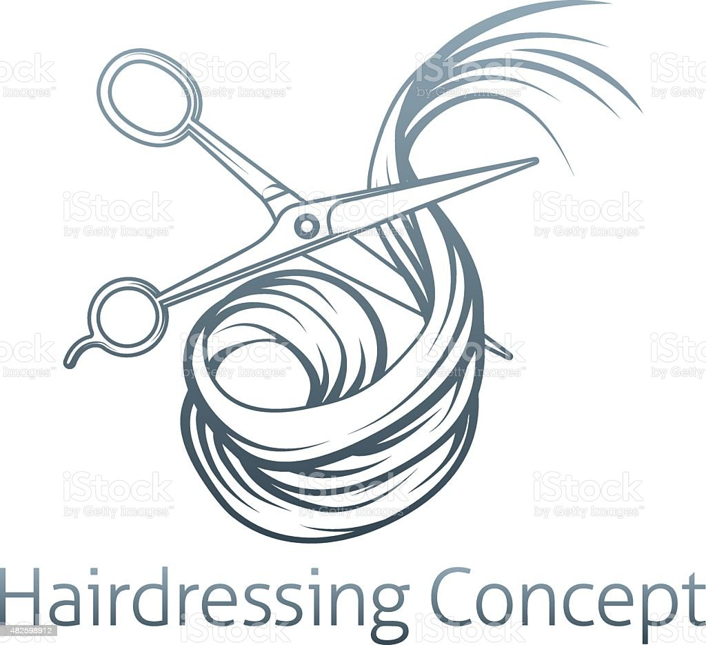 Hairdressers Scissors Cutting Hair vector art illustration