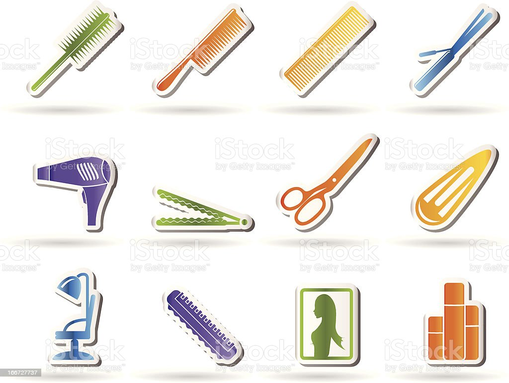 hairdressing, coiffure and make-up icons royalty-free stock vector art
