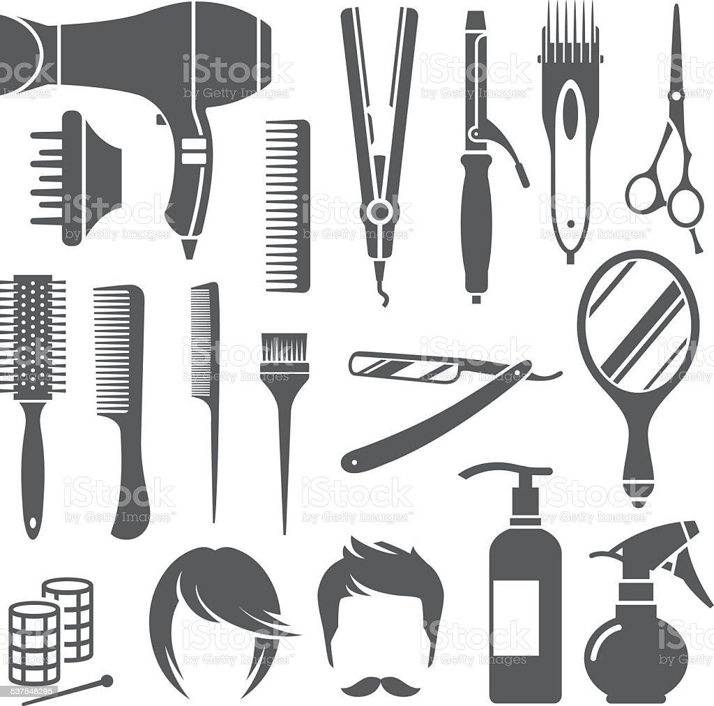 Hairdressing equipment symbols vector art illustration