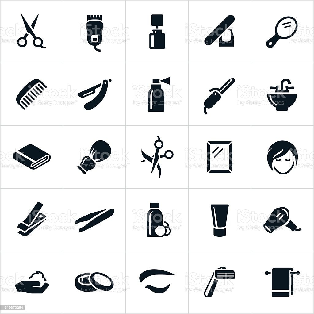 Hairdressing Icons vector art illustration