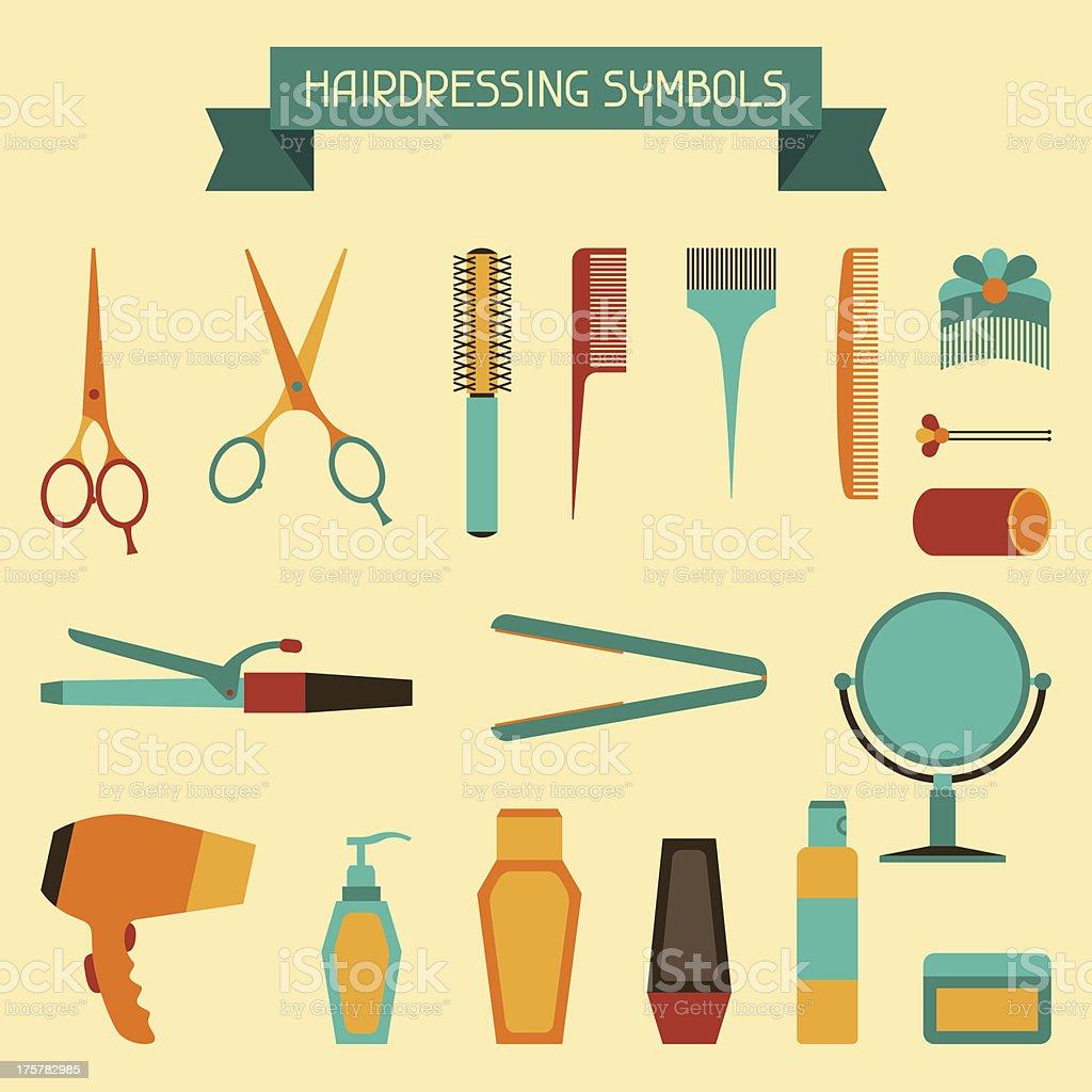 Hairdressing symbols. royalty-free stock vector art