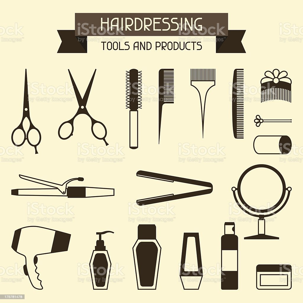 Hairdressing tools and products. vector art illustration