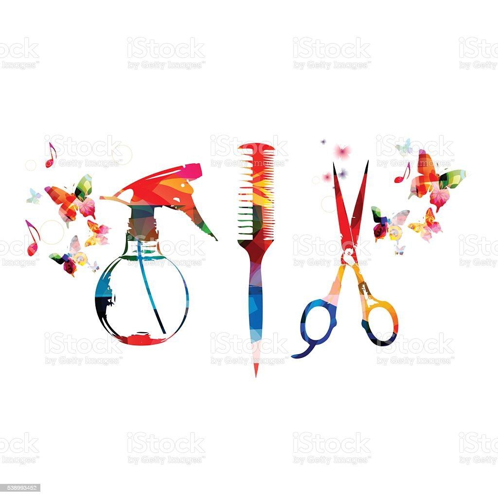Hairdressing tools background with colorful comb, scissors and sprayer vector art illustration