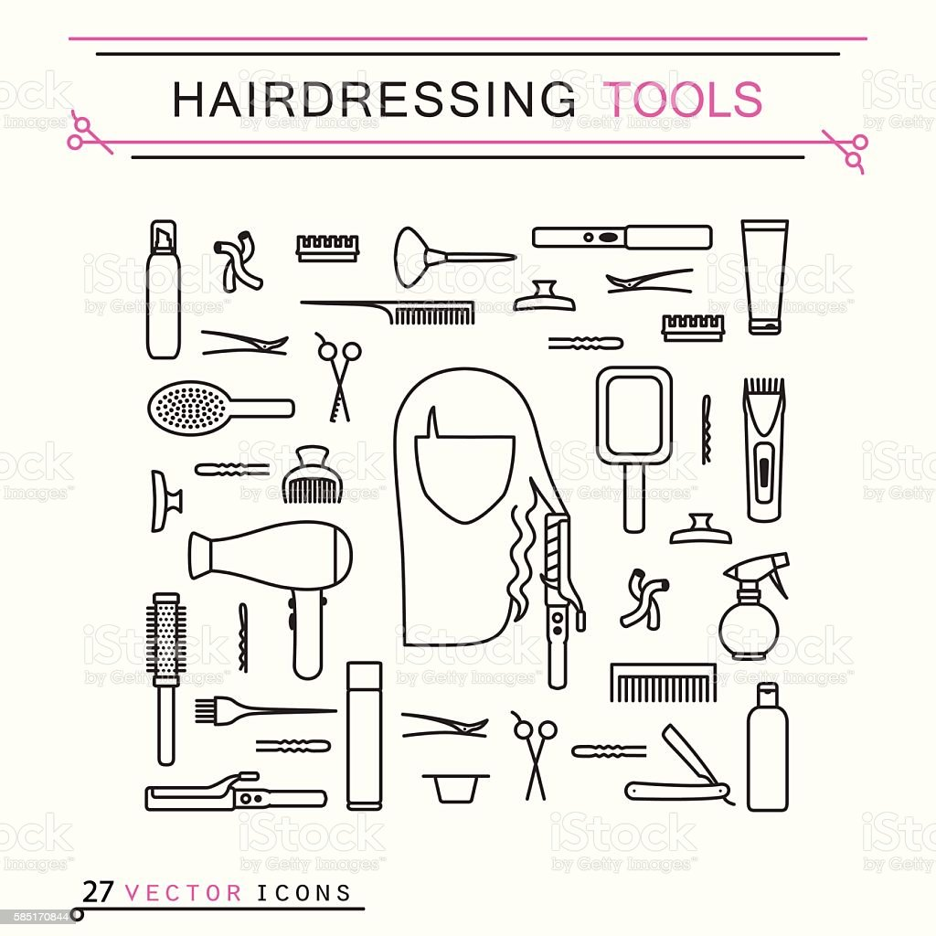 Hairdressing tools - icons vector art illustration